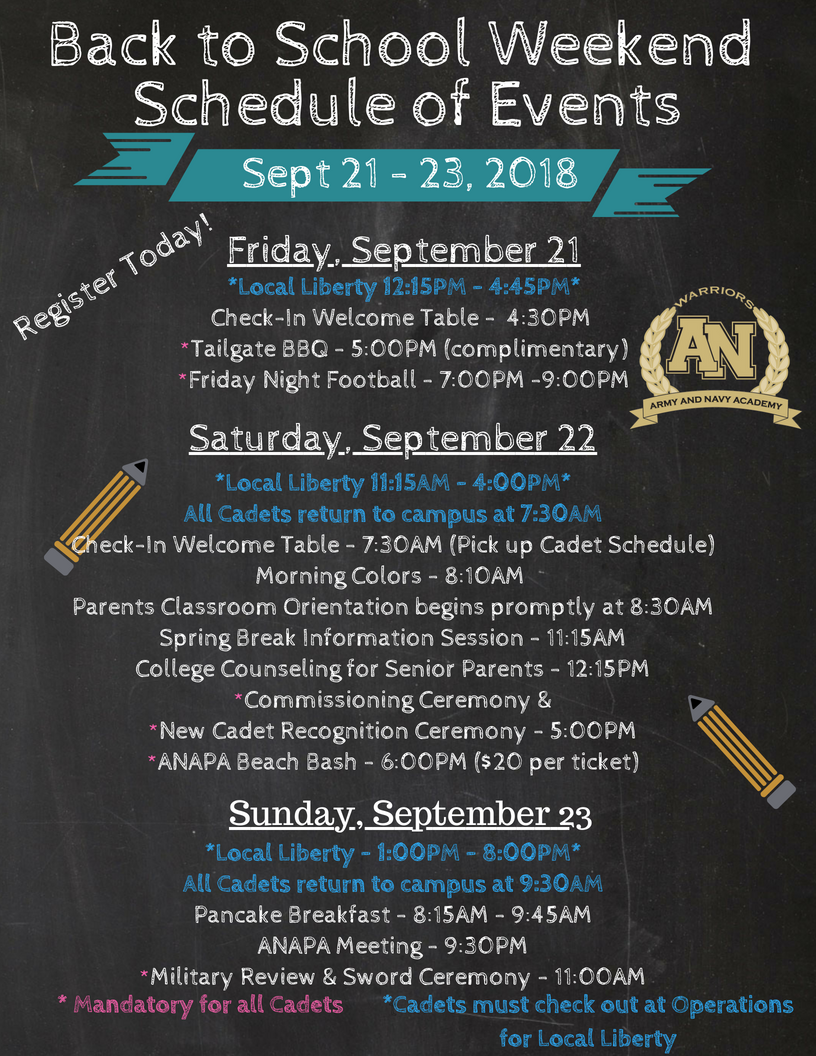 Back to School Weekend Schedule